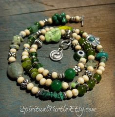 Energy Charged Green Multi Stone and Wood Beaded Wrap - Necklace / Anklet / Bracelet  - Jewelry, Multi Use, Wrap, Accessories, Handmade, Small Business, Shop Small, Etsy, Hippie, Boho, Gypsy, Spiritual Turtle, Etsy, Healing Energy, Reiki, Energy Infused, Crystals, Stones, New Age, Green, Yin Yang, Evil Eye, Hamsa, Jade, Wood, Prehnite, Shell, Malachite, Heart Chakra, Peridot, Howlite, Free Spirit, Good Vibes, Positive Energy, Gift Idea