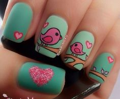 nice The Cutest Animal Nail Art 2014 – Be Modish – Be Modish Bird Nail Art, Animal Nail Art, Cute Nail Art, Beautiful Nail Art, Cute Nails, Pretty Nails, Nail Art 2014, Nailart, Romantic Nails
