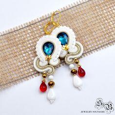 White Dangle Earrings, Soutache Earrings, Statement Earrings, Long Earrings, Embroidered earrings, Orecchini Soutache, Ohrringe soutache by SBjewelrySoutache on Etsy