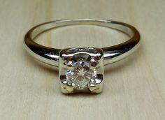 Vintage Antique .27ct Transitional Cut Diamond 14k White Gold Engagement Ring Art Deco 1950 by DiamondAddiction on Etsy