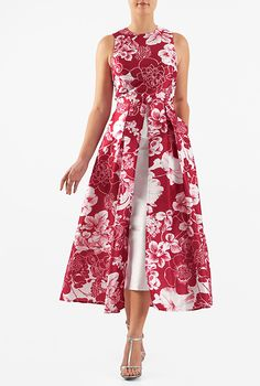 split boat, long sleeves, short: I <3 this Floral print dupioni inset front dress from eShakti