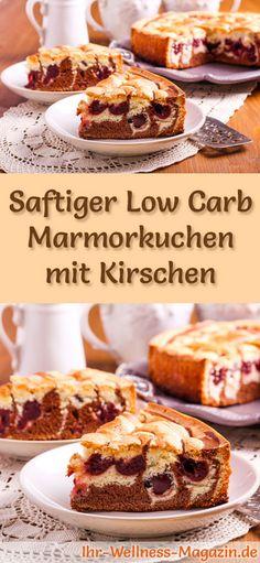 Rezept für Low Carb Marmorkuchen mit Kirschen - kohlenhydratarm, kalorienreduziert, ohne Zucker und Getreidemehl