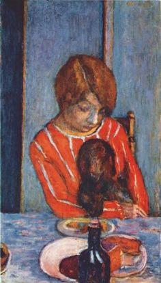 """Pierre Bonnard (1867-1947) - """"Femme tenant un chien"""", 1922 -"""