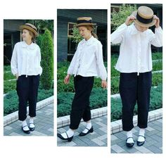 コーデ。 モノトーンコーデです。 ブラウス、#ヘミングショップ リネンパンツ、#bshop 靴、 #repetto 靴下、 #theatreproducts #fashion#コーデ#コーディネート#カンカン帽 #モノトーン #モノトーンコーデ #antique#ヴィンテージ #linen #日々#eminkostyle