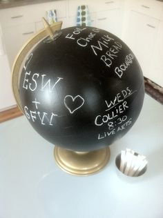 """Chalkboard Globe.. When a non-spinning chalkboard is too easy to write on and you prefer the view of """"buy milk"""" to the continent of Africa."""