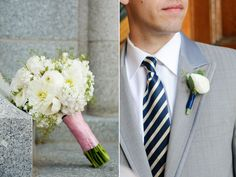 boutonniere with a single white ranunculus and seeded eucalyptus