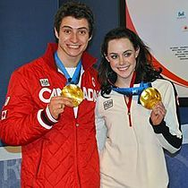 Scott Moir and Tessa Virtue, gold medalists in the ice dancing.
