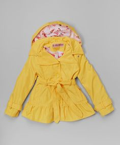 Look at this Urban Republic Yellow Ruffle Hooded Trench Coat - Infant, Toddler & Girls on #zulily today!