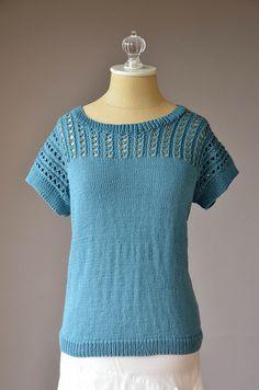 Free Pattern Friday - Blissful Tee knit in Fibra Natura Cotton True Sport Knitting Patterns Free, Knit Patterns, Free Knitting, Knitting Machine, Top Pattern, Free Pattern, Universal Yarn, Summer Knitting, Basic Tops