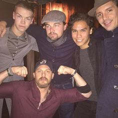 The Revenant cast: Will Poulter, Leo DiCaprio, Forrest Goodluck, Lukas Haas, and Tom Hardy Tom Hardy Actor, Tom Hardy Hot, Will Poulter, The Revenant Cast, Leonardo Dicaprio, Hot Actors, Actors & Actresses, T Movie, Look At The Stars