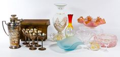 Lot 554: Glassware Assortment ; Nine items including vases, bowls and cups; together with a copper planter and silverplate cocktail shaker and six cups