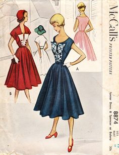 Vintage 1950's Misses' and Juniors' Belted Dress with Spencer - Bolero Jacket - Full Skirt - McCall's Sewing Pattern No. 8874 - UNUSED
