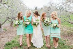 Greg   Olivia \ Rodale Institute Farm wedding sneak peek \\ mismatched mint bridesmaid dresses