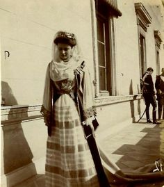 B/W photo of Princess Alice of Battenberg, later Princess Andrew of Greece and Denmark in official court dress. Athens 1903. Peloponnesian Folklore Foundation Photo Archive