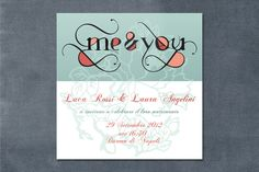 partecipazione me and you - verde menta e pesca    wedding invitations