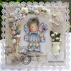 Getting excited about the new release.  This stamp from Magnolia stamps is called Summer flower Tilda