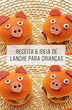 Quer fazer um lanche diferente para o dia das crianças, ou para o aniversário dos filhos? Aqui tem ideia e receita! :-) // palavras-chave: sanduíche de porquinho, sanduiche para criança, sanduba, dia das crianças, festa de criança, receita de lanche, lanchinho salgado.