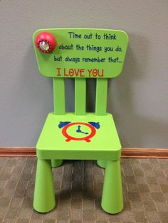 Time Out Chair with Timer. Not sure yet if I'll use time out but this is a cute chair Diy For Kids, Crafts For Kids, Diy Crafts, Time Out Chair, Future Baby, Kids And Parenting, Baby Love, Cute Kids, Little Ones