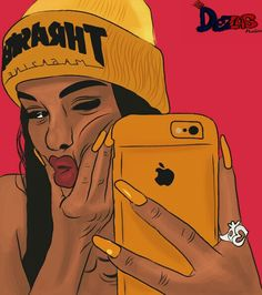 Girl drawing, iPhone, yellow, dezas studio