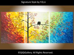 Abstract Painting Landscape Painting Original Modern Heavy Texture Impasto Painting Palette Knife Tree Love Birds Painting Wall Décor