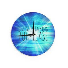 Kess InHouse Ebi Emporium 'Puh-lease' Aqua Wall Clock