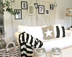 White, blue and stripes for nautical decor