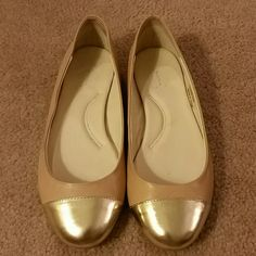C Wonder Neutral Gold tip flats Natural colored flats almost similar to ballet slipper pink with fun gold tips! Very cushy insole so super comfy and stylish shoe! Worn a few times so slight wear. C wonder  Shoes Flats & Loafers
