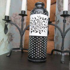 Купить Стеклянная бутылка ручной работы. Бутылка-ваза Монохром - чёрно-белый, бутылка, бутылочка