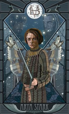 Arya Stark stain-glass window style