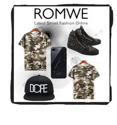 """ROMWE CAMOUFLAGED"" by coco-trends ❤ liked on Polyvore featuring Giuseppe Zanotti, 21 Men and Native Union"