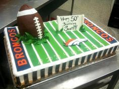 Broncos Birthday Cake - Cant take credit for the design of this cake. A client brought in a similar picture that I was able to reproduce. It was fun regardless! Football Birthday, 8th Birthday, Birthday Cakes, Birthday Ideas, Happy Birthday, Denver Broncos Cake, Pretty Cakes, Cake Creations, Themed Cakes