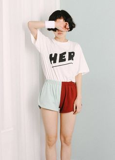 deumi  HER 티셔츠 (WHITE)