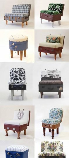 can't you just see the LV scattered with these chairs?DIY Suitcase Furniture The Effective Pictures We Offer You About DIY Furniture sofa A Refurbished Furniture, Repurposed Furniture, Pallet Furniture, Furniture Making, Furniture Makeover, Painted Furniture, Bedroom Furniture, Furniture Design, Furniture Ideas