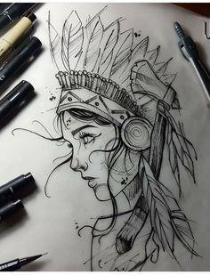 Dark Art Drawings, Tattoo Design Drawings, Pencil Art Drawings, Art Drawings Sketches, Tattoo Sketches, Cool Drawings, Tattoo Symbole, Native Tattoos, Girl Back Tattoos