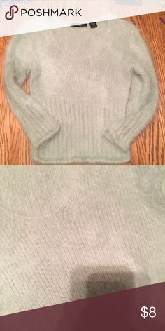 Fuzzy top! Size small fuzzy top! Super cute mint green color! Express Sweaters Crew & Scoop Necks