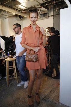 Karlie Kloss arrives for the model call with her #SS16 mini #DVFSecretAgent http://on.dvf.com/1NxP85u #NYFW
