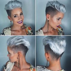 Mohawk cut for women Silver Trend Modern frisuren frauen frisuren männer hair hair women Short Pixie, Short Hair Cuts, Pixie Cuts, Edgy Pixie, Corte Y Color, Funky Hairstyles, Medium Hairstyles, Wedding Hairstyles, Drawing Hairstyles
