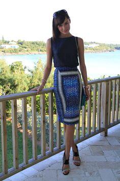 Bermuda Blues; Cristina Sabaiduc blackless top, Peter Pilotto skirt, Roland Mouret heels, Michael Kors watch, Links of London bracelets, Monica Vinader ring, Chloé sunglasses & Loeffler Randall clutch bag.