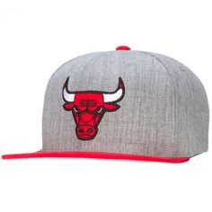 39b3403a69b8e Chicago Bulls Grey Snapback with Red Suede Visor by Mitchell   Ness   Chicago  ChicagoBulls