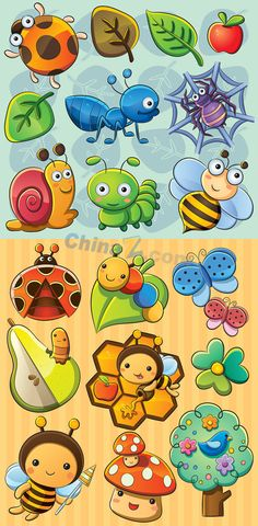 Kawaii insect cartoons - tree, mushroom, flowers, leaves, too.