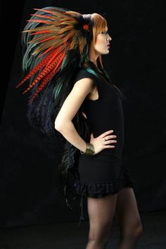 Feather Headdress  The Flame Feather Headdress by RoosterBaby22, $425.00