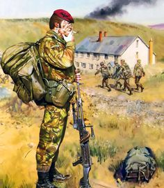 British soldiers, Falklands War Military Diorama, Military Art, Military History, British Army Uniform, British Soldier, Military Costumes, Military Uniforms, Parachute Regiment, Military Drawings