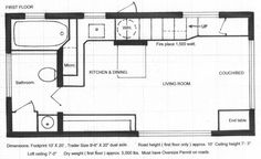 Floor Plans of the brilliant 280 square foot tiny house by Chris Heininge Construction.  If made into a double wide using the same design elements, it would be downright luxurious.