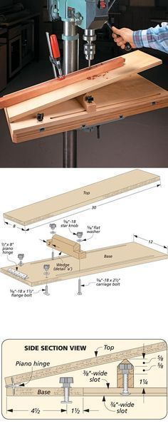 Woodworking is a job, for which one requires to work with precision and skill. Mistakes during woodworking may spoil the whole piece. In woodworking, there are some things, which should be done repeatedly. woodworking jigs are tools, Woodworking Drill Press, Woodworking Workshop, Woodworking Bench, Woodworking Tools, Woodworking Beginner, Woodworking Quotes, Wood Jig, Drill Press Table, Drill Press Diy