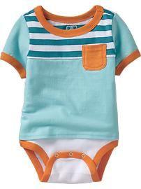 2-in-1 Striped-Yoke Bodysuits for Baby