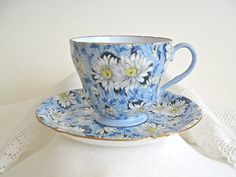 Chintz Ware Shelley China Cup Saucer in Blue Daisy Pattern Vintage | eBay  How good would you feel drinking your coffee or tea in this beautiful china!