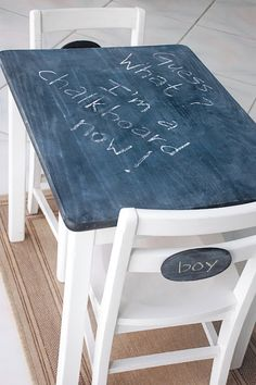 I could use her IKEA table and chair set and use chalkboard paint for this!