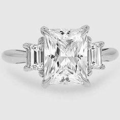Platinum Embrace Diamond Ring // Set with a 2.62 Carat, Radiant, Super Ideal Cut, G Color, VVS1 Clarity Diamond #BrilliantEarth