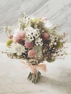 wild and different--will need to see color of gown and BM dresses Dried Flower Bouquet, Flower Bouquet Wedding, Dried Flowers, Boho Flowers, Pretty Flowers, Cascading Bridal Bouquets, Dried Flower Arrangements, How To Preserve Flowers, Flower Pictures