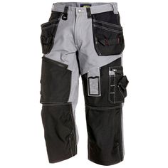 Blaklader 3/4 Pants - Grey/Black - Whether you're sailing the heavy seas or cooling off on a hot day, 1600 3/4 pants have all the durability and functionality of X1600 pants at three-quarters the length. Pants are made of a heavy cotton canvas covered in extra-durable Cordura shields. | FullSource.com